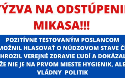 Žiaden hygienik nemôže rozhodnúť, že je správne, aby Covid pozitívni poslanci chodili po Slovensku a mohli chodiť do práce.